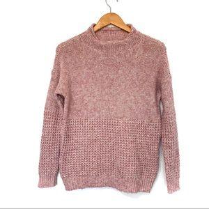 American Eagle pink drop shoulder textured sweater